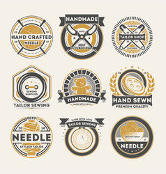 Tailor shop vintage isolated label set vector