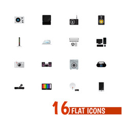 Set of 16 editable home flat icons includes vector