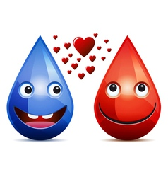 Water drops and drop of blood love vector