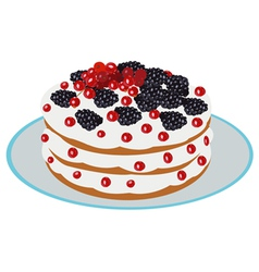 Delicious berry cake vector