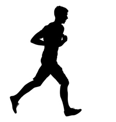 Silhouettes runners on sprint men vector