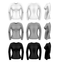 women long sleeve t-shirt vector image