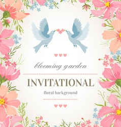 Wedding invitation card with flower frame vector