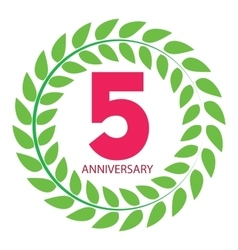 Template logo 5 anniversary in laurel wreath vector