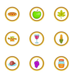 autumn party icons set cartoon style vector image