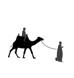 black and white silhouette of a camel with a vector image
