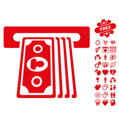 cashpoint terminal icon with valentine bonus vector image