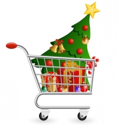 Christmas shopping cart vector image vector image