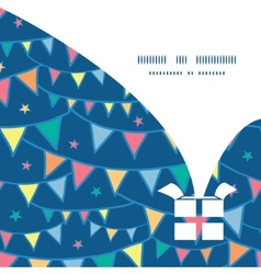 Colorful doodle bunting flags christmas gift box vector