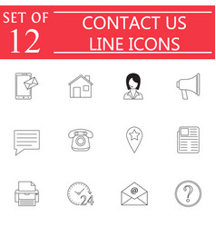 Contact us line icon set web communication signs vector