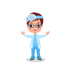 cute boy doctor in professional clothing with vector image vector image