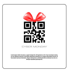Cyber monday sale poster with qr code and ribbon vector