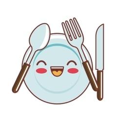 Dish and cutlery kawaii style vector