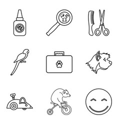 domestic animal icons set outline style vector image vector image