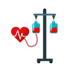 donation transfusion tools with heartbeat symbol vector image vector image