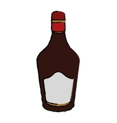 Drawing bottle cream whiskey liqueur icon vector