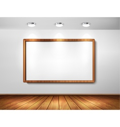 Empty wooden frame on a wall with spotlights and vector image