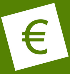 Euro sign white icon obtained as a result vector