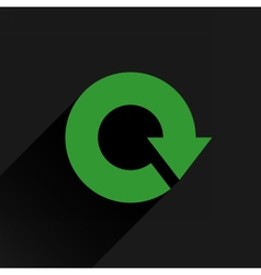 Flat green arrow icon reload rotation repeat sign vector