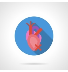Heartache flat color round icon vector image