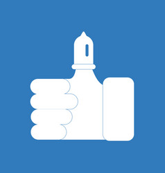Icon on background condom on finger vector