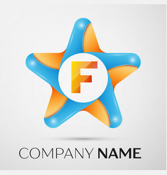 Letter f logo symbol in the colorful star on grey vector