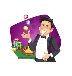 Man play roulette in casino vector image vector image