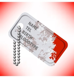 Military dog tag on grey background vector