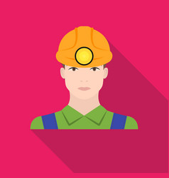 Miner icon in flat style isolated on white vector