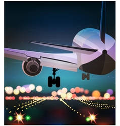 Passenger plane is landing old poster vector image