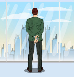 pop art businessman looking at city vector image vector image