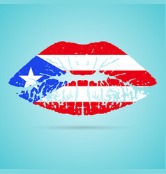 Puerto rico flag lipstick on the lips isolated on vector
