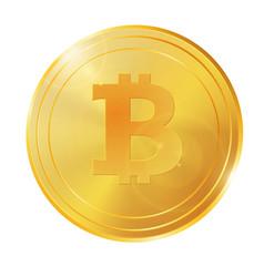 Realistic 3d golden bitcoin coin for fintech net vector