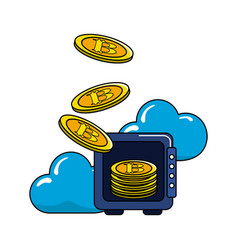 Safe with bitcoin currency and cloud data vector