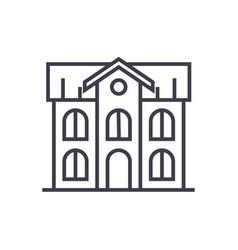 school building line icon sign vector image