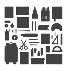 School supplies silhouette vector