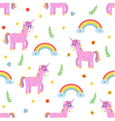Seamless pattern with cute pink unicorn and vector
