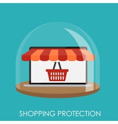 Shopping Protection Flat Concept for Mobile Apps vector image