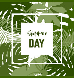 Square banner with tropical leaves vector