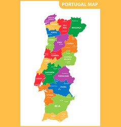 the detailed map of the portugal with regions or vector image vector image