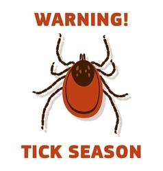 Tick season warning card vector