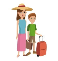 Traveler woman and boy tourist with suitcase hat vector
