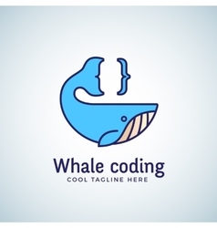 Whale Coding Abstract Emblem Label Logo vector image vector image