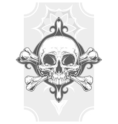 Grey human skull with two bones tattoo vector