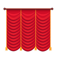 Red curtains silk theatre curtain vector