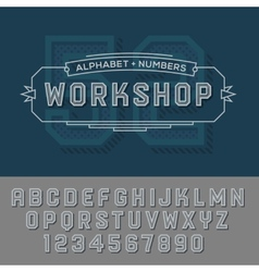 Alphabet numbers retro colour style vector