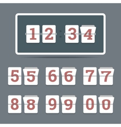 Flip clock in flat style with all flipping numbers vector