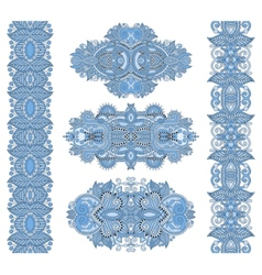 Ornamental floral adornment of blue colour vector