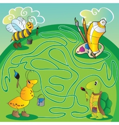 Maze for children - help the turtle ant bee get vector