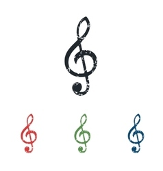 Treble clef grunge icon set vector